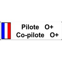 Autocollant plaque Pilote et Groupe Sanguin