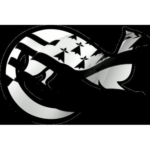 Autocollant hermine drapeau breton